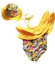 Niñas trajes de baño siamés amarillo falda de flores nuevos modelos de servicios de spa KYZ23A09(China (Mainland))