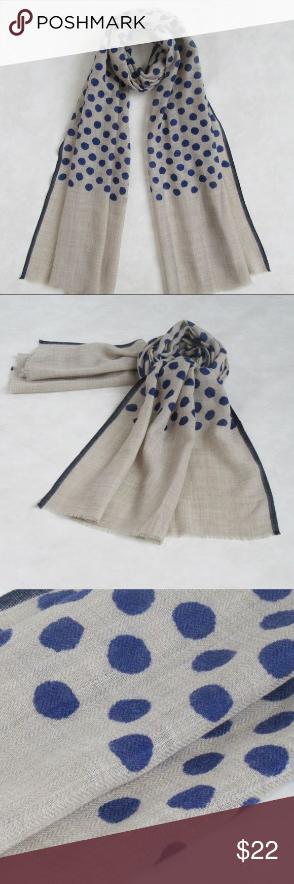 """NWT! NAVY Polka Dot Wool Blend Scarf; Spring Eve! OVERVIEW: - Oblong woolen scarf, polka dots, raw edges & contrasting thin border. - Extremely light weight & super soft on the neck  PRODUCT DETAILS: STYLE # EB-SCV-299 NAVY TYPE: OBLONG MATERIAL : 98% Wool + 2% Silk DIMENSIONS : L 74"""" X W 22""""  Wash care: Hand wash, lay flat to dry; warm iron if needed 7 Artisan Street ® Accessories Scarves & Wraps"""