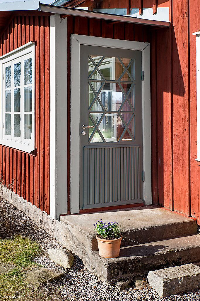 Swedish countryside cottage which I recently bought with my girlfriend. Front door.