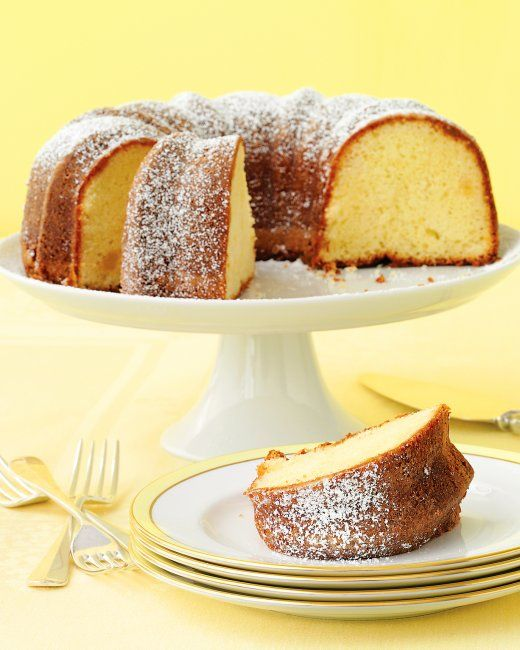 Lemon-Ginger Bundt Cake  Fresh citrus and crystallized ginger sparkle up this buttery, dense cake. A dusting of confectioners' sugar finishes its presentation.
