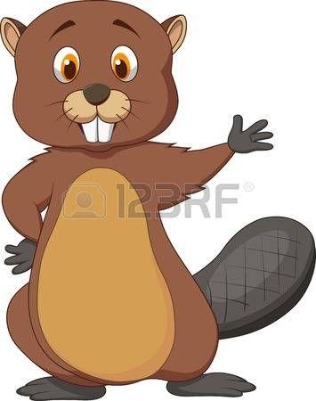beaver: Cute beaver cartoon waving