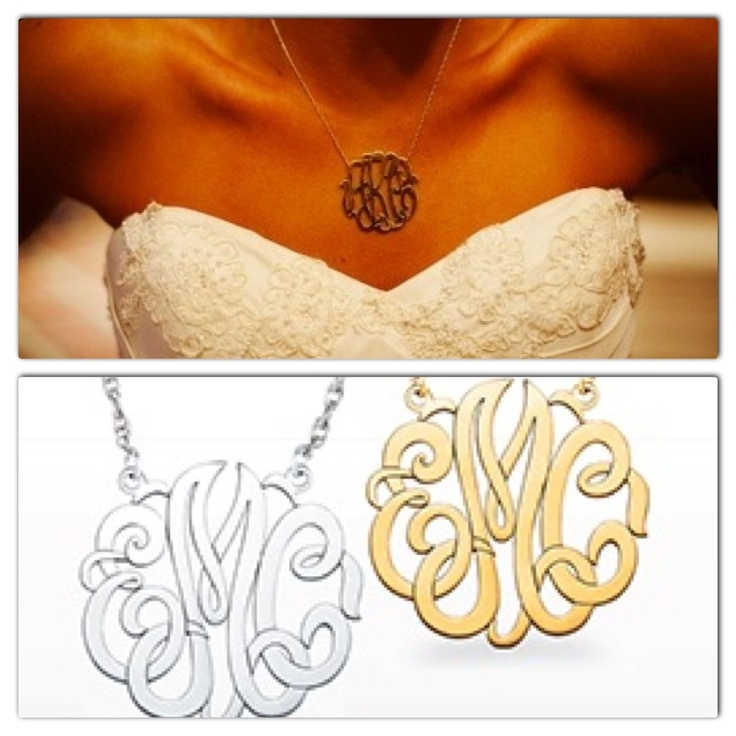 Wear your new initials on your wedding day.  These beautiful monograms come in 3 different necklace sizes and a bracelet too.  They can be made in Silver and in White, Yellow or Rose Gold. www.samuelkleinberg.com