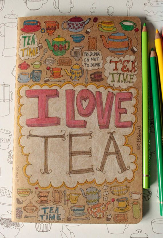 Doodle tea moleskine in Items and accessories related to the afternoon tea time snacks