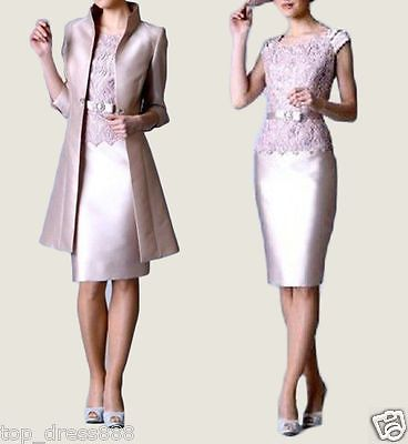 Knee Length Mother of the Bride Outfit Formal  Embroidery Wedding Dresses Jacket