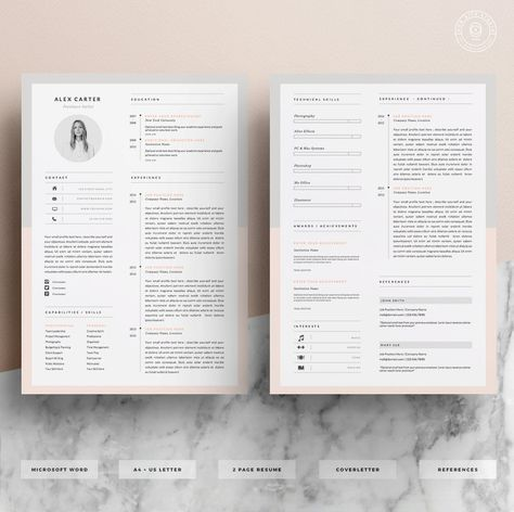 Modern Resume Template & Cover Letter Icon Set for Microsoft