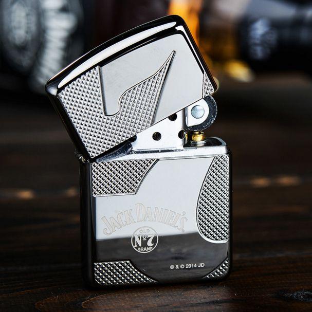 Zippo Armor Black ice Deep Carve Jack Daniels Lighter