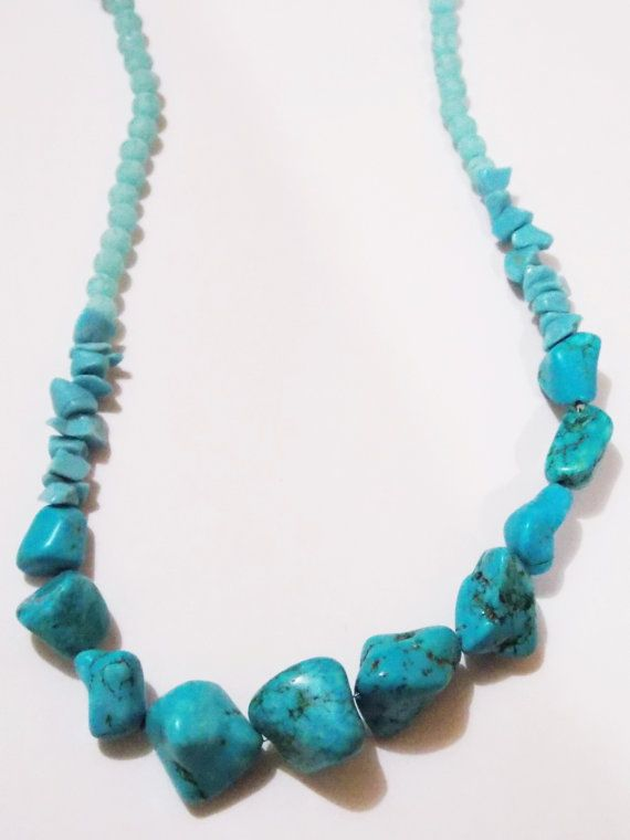 Blue turquoise stones necklace. Rare stones to find. Awesome look. Used neon beads also.