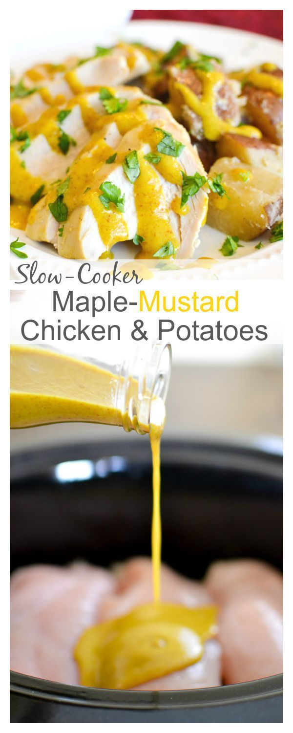 Slow-Cooker Chicken & Potatoes with Maple-Mustard Sauce - Easy, healthy dinner recipe! 21 Day Fix: 1 RED, 1 YELLOW