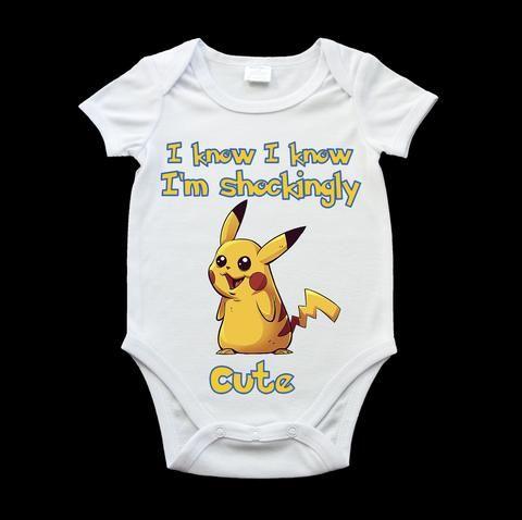 funny pikachu baby onesie, funny pokemon onesie