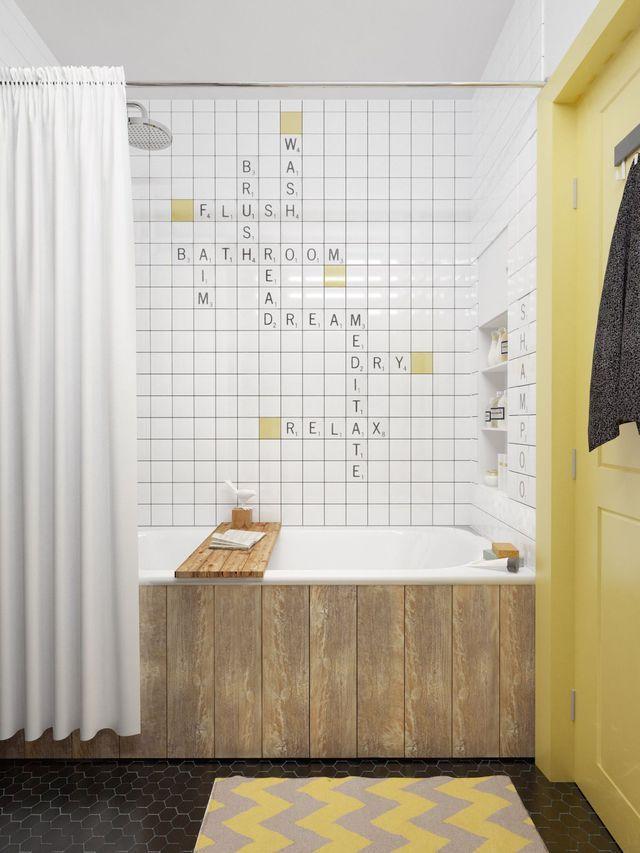 Relooking SALLE DE BAIN nettoyez soigneusement le support. Puis, muni(e) d'un pochoir alphabet/chiffres et d'un pinceau à tamponner, formez vos inscriptions sur chaque carreau avec de la peinture spécifique. Complétez en colorant 2 ou 3 carreaux muraux dans la même teinte que la porte, toujours avec une peinture adaptée au support, pour un joli écho de couleur.