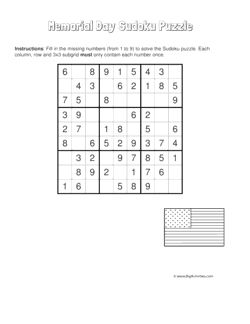 Memorial Day sudoku puzzle with a picture of an American flag. 4 levels of difficulty. Sudoku puzzle changes each time you visit