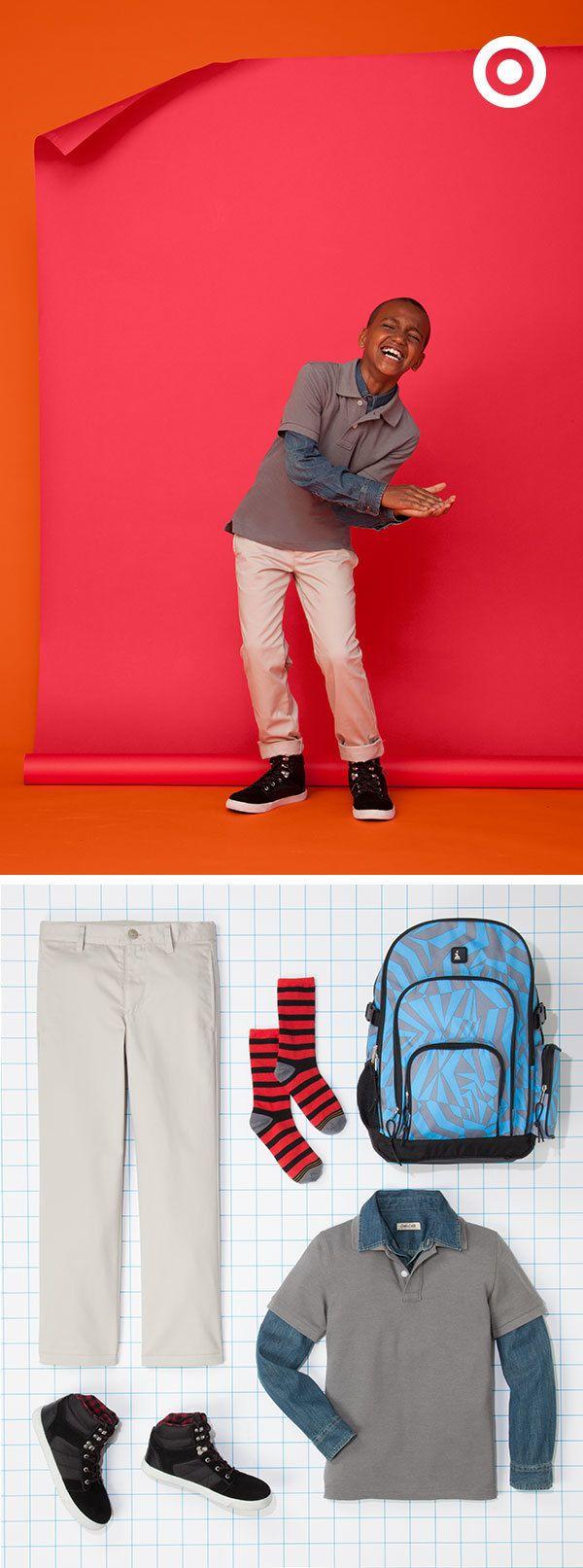 Adding a long-sleeved shirt under a boys' school uniform is a stylish way to add an original touch.