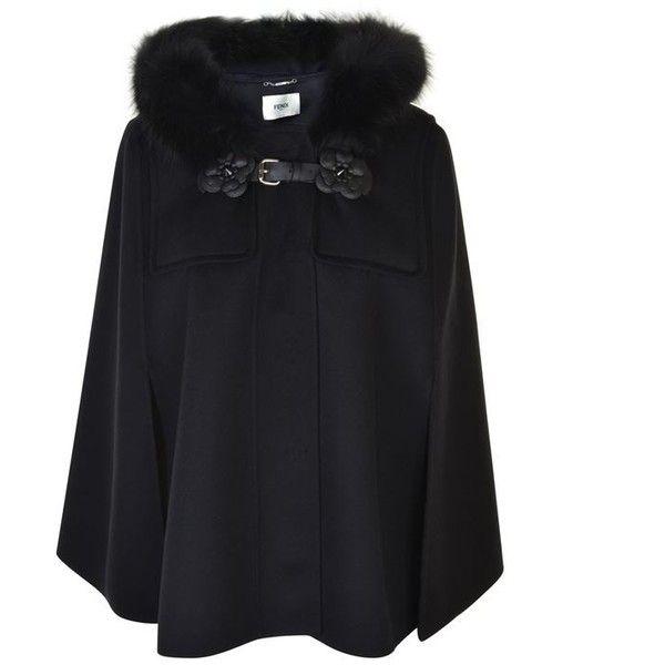 Fendi Fur Trim Cape ($3,495) ❤ liked on Polyvore featuring outerwear, nero, fendi, fur trimmed cape coat, hooded cape coat, hooded cape and fox fur trimmed cape