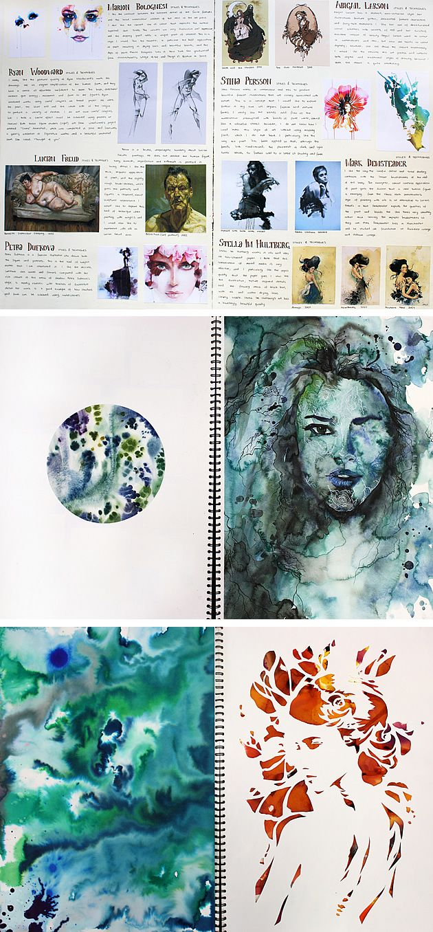 Many high school Painting / Fine Art students worry that their sketchbooks must be wild, gestural explorations, with layers of media exploding from each page. This sketchbook is a reminder that this is not always the case. Here, a sketchbook layout has been approached with the sophisticated eye of a graphic designer; each page taking on the aesthetic of a contemporary magazine.