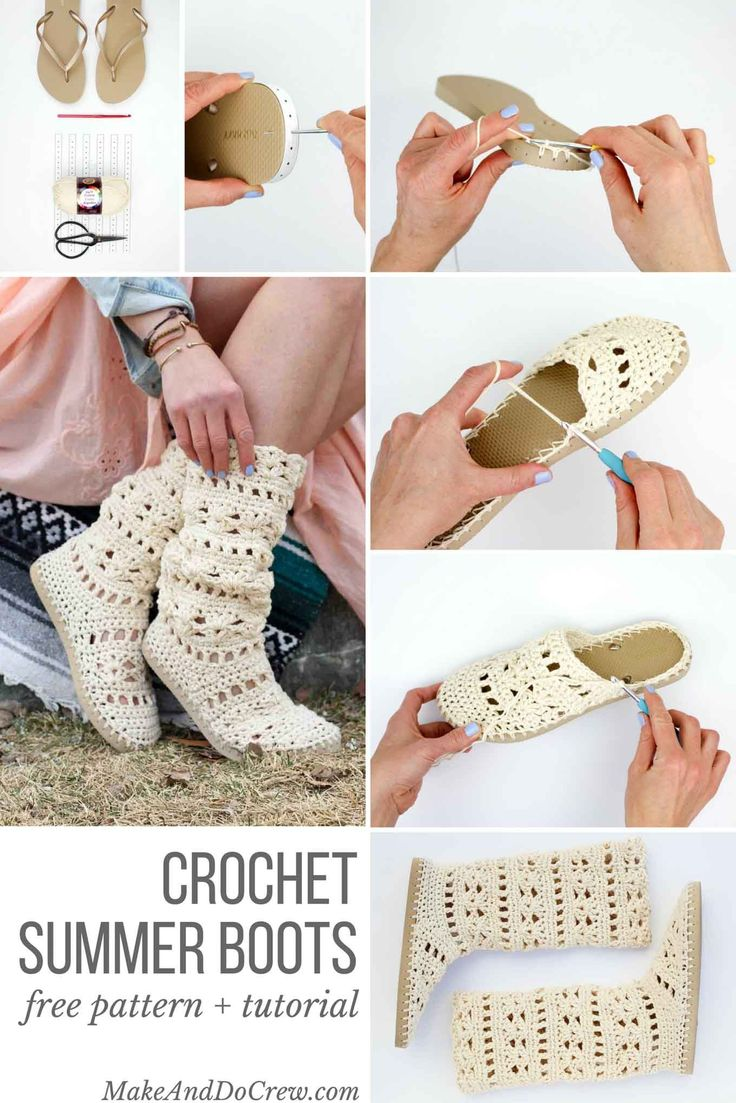 "These lacy, cotton ""Coachella Boots"" will complete your boho-inspired outfits all spring and summer long! Crochet them with flip flop soles! via @makeanddocrew"
