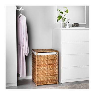 IKEA BRANÄS laundry basket with lining The plastic feet protect the laundry basket from moisture.