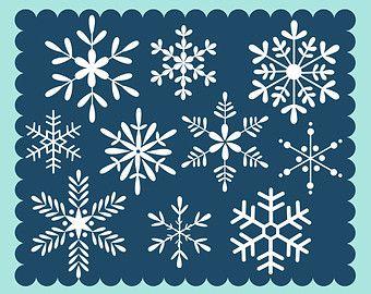 Tableau Clipart de flocons de neige dessinés à la par ColorsonPaper