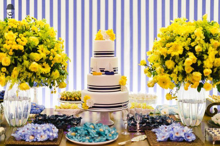 Casamento - Wedding - Rio de Janeiro - Niteroi - Raoní Aguiar Fotografia - Navy - Náutico - Decoração - Azul - Amarelo - Bolo - Cake - Mesa de bolo - Doces