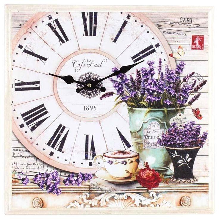 Αν ο χρόνος τρέχει, τουλάχιστον ας μας χαλαρώνει ένα όμορφο ρολόι με χρώματα με θέμα τη λεβάντα σε λιλά και πράσινες αποχρώσεις. από ξύλο.