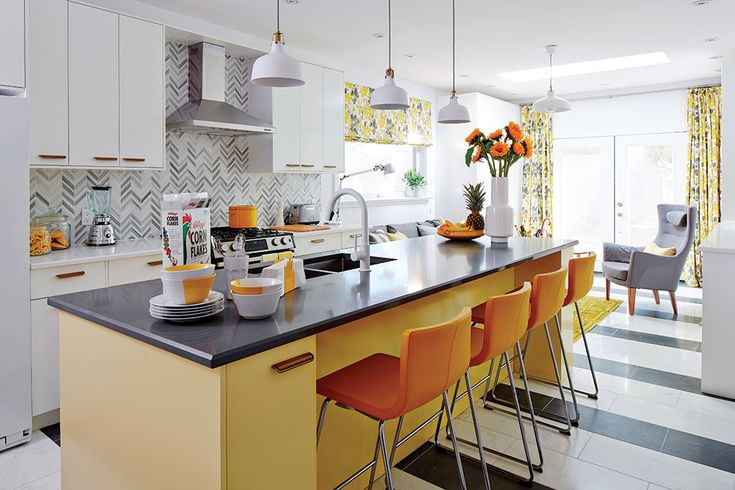 Designer Sarah Richardson uses yellow to inspire a bright and sunny kitchen renovation. Get the tips for a colourful kitchen. Dysfunctional to delightful.