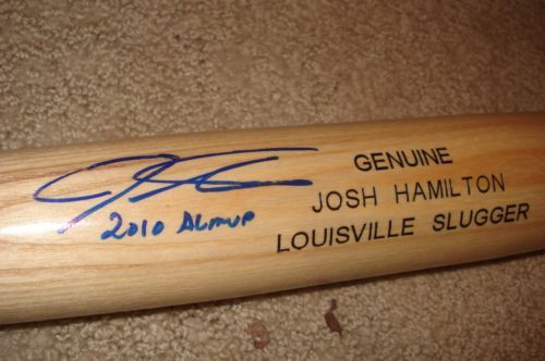 """Josh Hamilton Autographed Louisville Slugger bat Inscribed """"2010 AL MVP"""" in Blue Ink Signature Certified by MLB and comes with the MLB Hologram Beautiful autograph in bright blue ink  Authentic signed bat Josh Hamilton Autograph Baseball Bat MLB Certified Signed Texas Rangers AL MVP"""