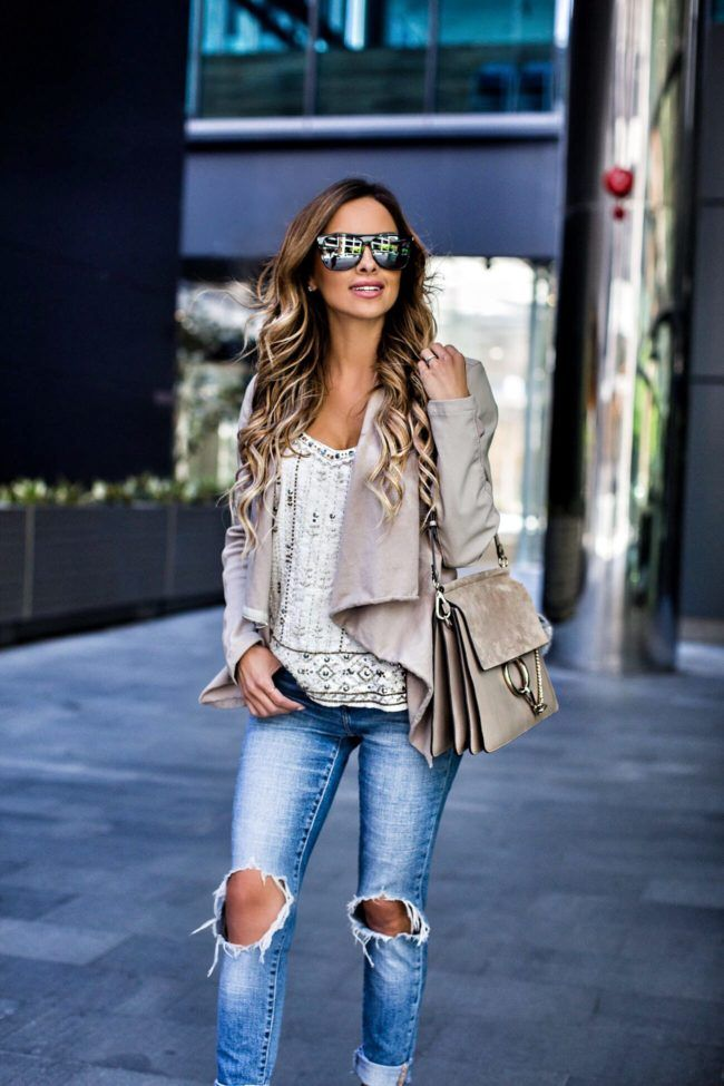 The Perfect Cami For This Season - Nordstrom Beaded Tank // Blank Denim Jacket // Levi's Jeans // Steve Madden 'Stecy' Heels // Saint Laurent Sunglasses // Chloe 'Faye' Bag November 8th, 2016 by maria