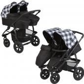 Cozy коляска для двойни 2 в 1 cozy duo  — 45290р. -------------- производитель: cozy  особенности детской коляски для двойни cozy duo 2 в 1: детская коляска для двойни cozy duo 2 в 1 — удобная и функциональная модель для двух малышей. две просторных люльки очень гармонично смотрятся на алюминиевом шасси и обеспечивают здоровый и крепкий сон новорожденным крохам. прогулочные блоки коляски cozy duo 2 в 1 устанавливаются по ходу движения и лицом к маме, благодаря чему вы всегда сможете выбрать…