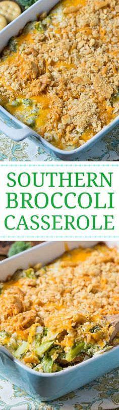 Southern Broccoli Casserole with a Ritz cracker topping.