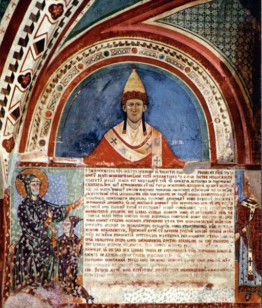 1198-1216.Innocentius III S Spiritus. Innocent III at Monastero del Sacro Speco (Subiaco).circa 1216-19. Unattributed photo in J.C. Moore, Pope Innocent III (2003);anonymous 13th century painting.