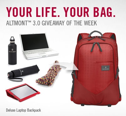 Click the link to win this Deluxe Laptop Backpack, Feb 1 - 7, 2013!  http://platform.votigo.com/fbsweeps/sweeps/Your-Life-Your-Bag-Giveaway