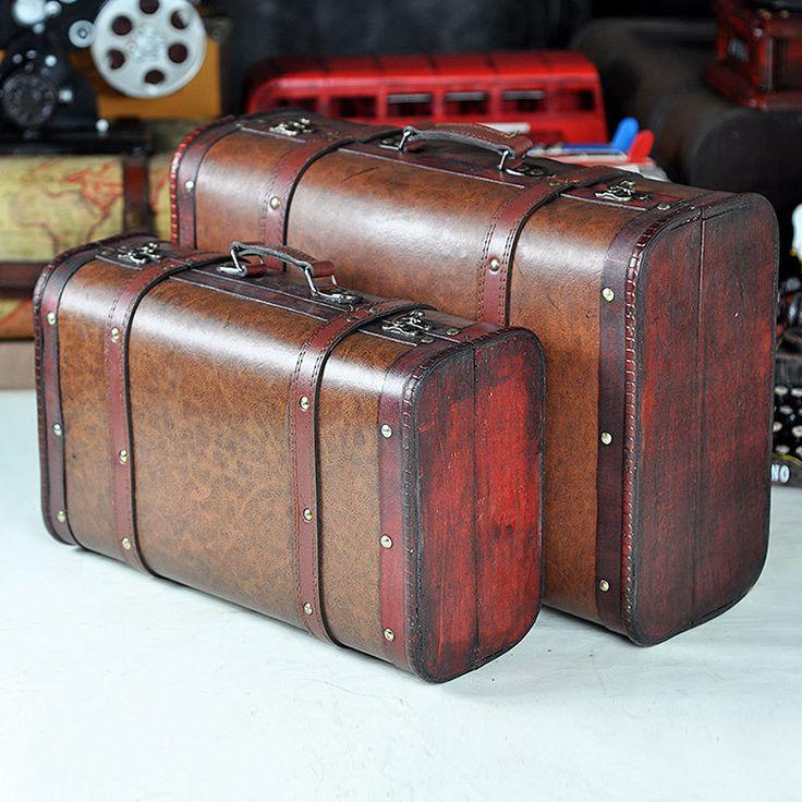Ретро портативный деревянные украшения деревянные ремесла украшения украшения дерева старый чемодан съемки реквизит(China (Mainland))