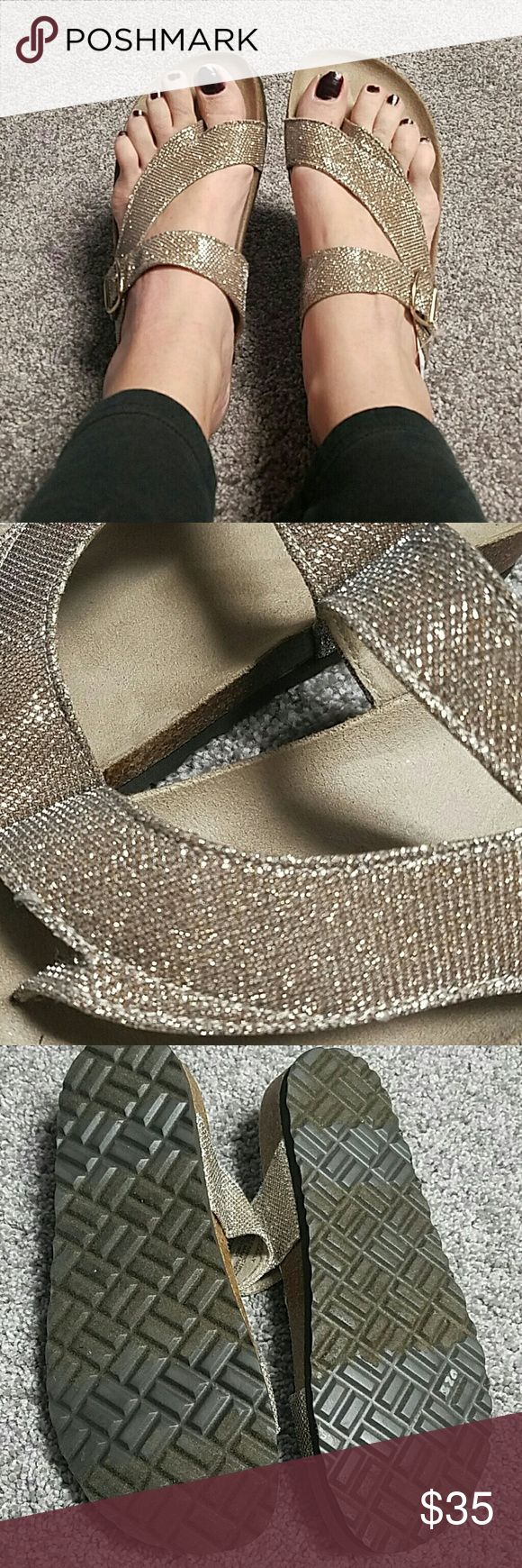 NWT White Mountain Sparkle Loafer Sandles 9 Please excuse my chipped nail Polish in pics. These are brand new never worn. Beautiful & casual. NO TRADES PLEASE DON'T ASK ME! white mountain  Shoes Sandals