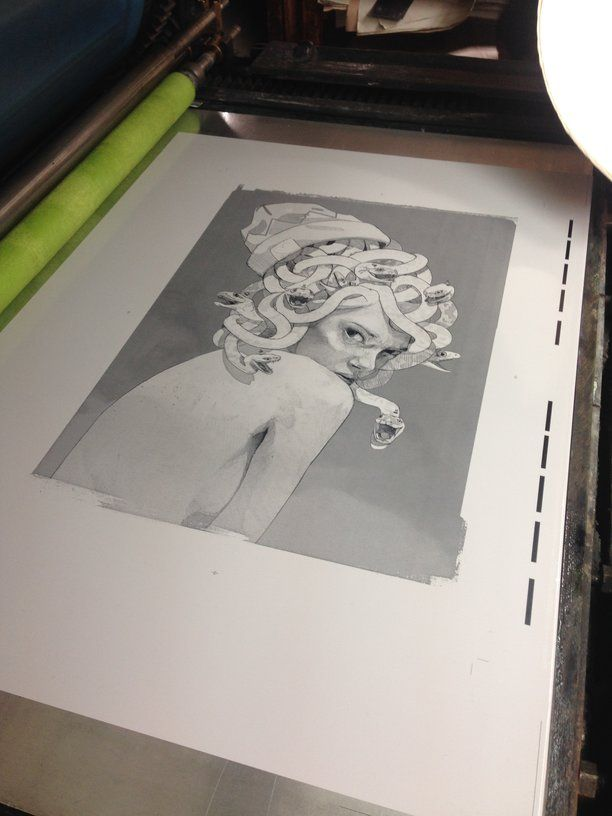 """""""Medusa"""" lithograph by the artist Bezt, edited by Print Them All in our printing house Idem in Paris. #lithograph #medusa #bezt #paris #idem #artprinting"""