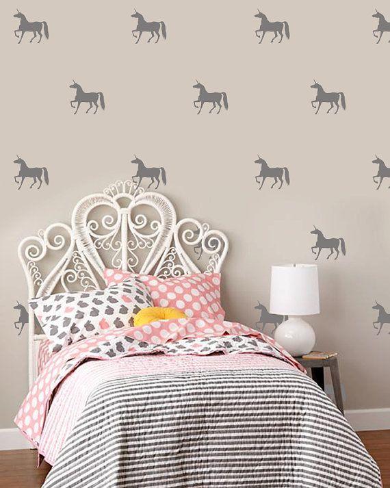 Unicorn Pattern Vinyl Wall Decals , Kit Of 40 Horses, Girls Room Decoration, Nursary Decor, Kids Room Stickers - ID675