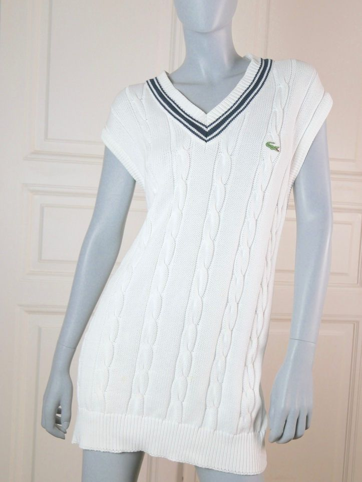 Lacoste White Dress, Cable Knit Dress, Tennis Dress, Navy Blue and White Dress, Sporty Dress: Size 8 (US), Size 12 (UK) by YouLookAmazing on Etsy