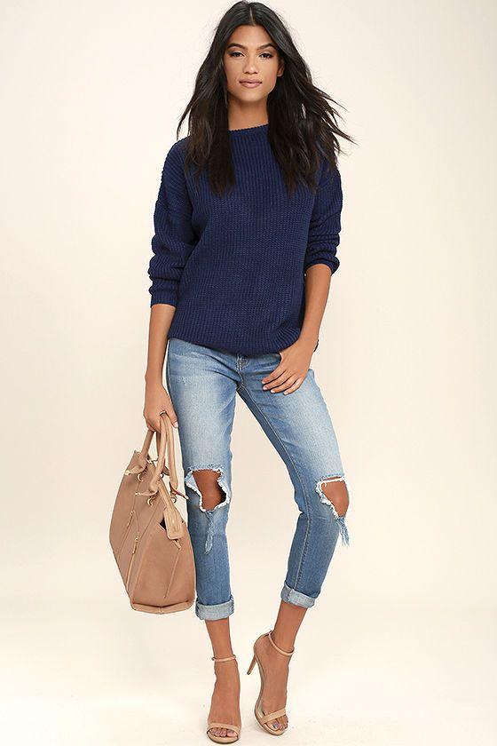 Best 25  Navy blue sweater ideas on Pinterest | Blue sweater ...