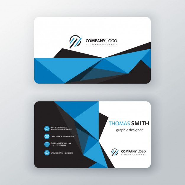 Blue Polygonal Editable Business Card Free Vector Tarjetas De