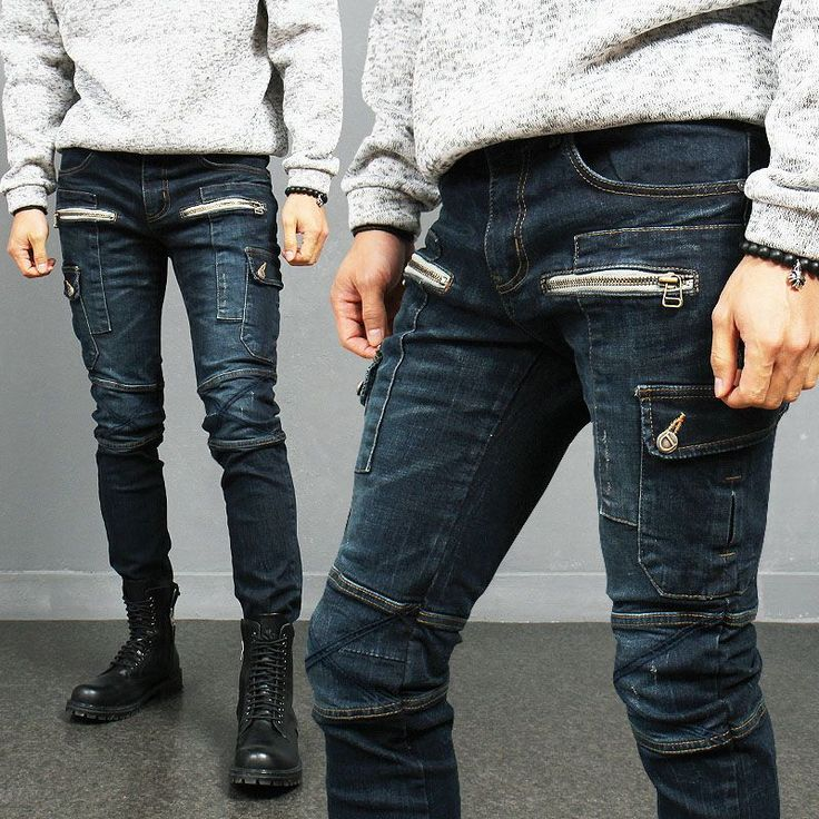 Zipper Pocket Styling Biker Skinny Spandex Blue Jeans W38 via SNEAKERJEANS STREETWEAR SHOP