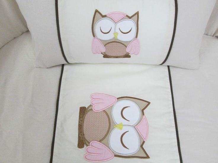 Owl quilt set:  Beautifully embroided cot set handmade from the best cottons.  Set includes: cot bumper, quilt, mini scatter and fitted sheet (made to fit mattress 1.3m X 66cm)  orders@borderboutique.co.za