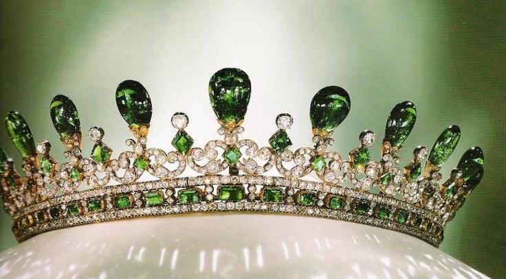 Emerald & Diamond Tiara. Prince Albert designed this for his wife, Queen Victoria, in 1845.