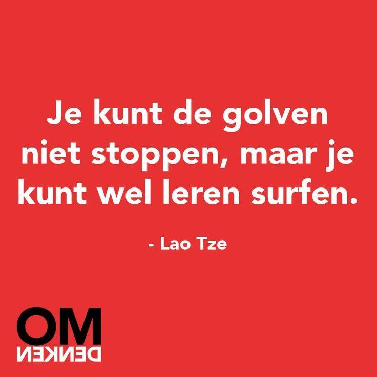 Je kunt de golven niet stoppen, maar je kunt wel leren surfen. - Lao Tze