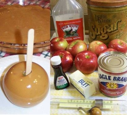 "Grandma Betty's Caramel Apples, ""A family favorite for over 50 years. Once you try this, you will never go back to unwrapping and melting all those commercial caramels to dunk apples in! Braeburn apples are my favorite for this recipe—not too sweet and not too tart."""