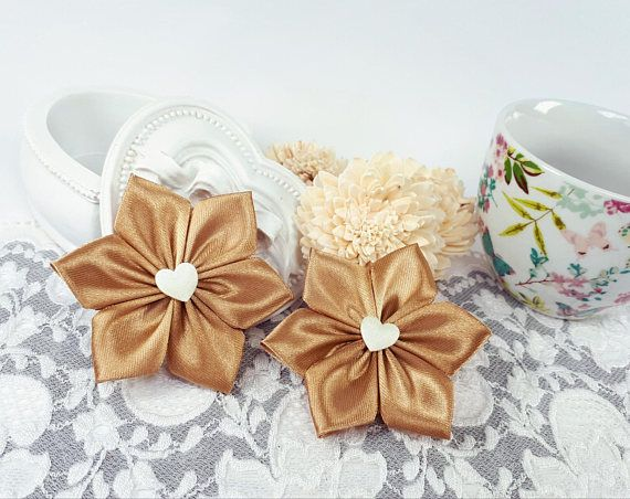 Brown decorative flowers satin ribbon flowers ribbon by Rocreanique