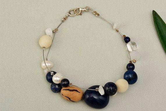 Tagua bracelet navy beads bracelet eco-chic by ColorLatinoJewelry