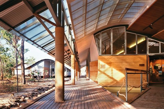 2014 Gold Medal: Environmental fit | ArchitectureAU. Bowali Visitors Information Centre in association with Glenn Murcutt, Kakadu National Park, NT, 1992–94. Image: John Gollings