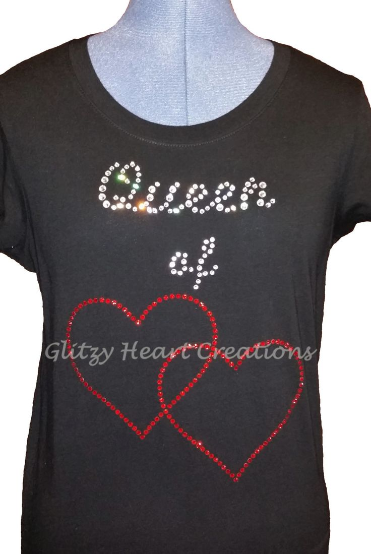 Rhinestone T-shirt, Queen of Hearts Design, Women's Tee - Crystal Decorated Shirt, Ladies T-Shirt by GlitzyHeartCreations on Etsy