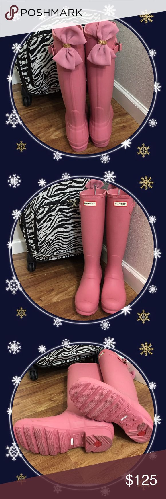 Rare Pink Hunter boots with bows size 6 Gorgeous pair of matte finish rhondite pink ladies tall Wellie Hunter rain boots in size 6. Got these from Nordstroms for $150 plus tax was $165 and got the bows for additional $20 put me at $185. Worn once for pictures and then put away. This is the prettiest blush pink to go with soft neutral tones. This romantic rose pink is no longer available in stores but you can have mine including hard to find matching bows!! Price is final markdown; no further…