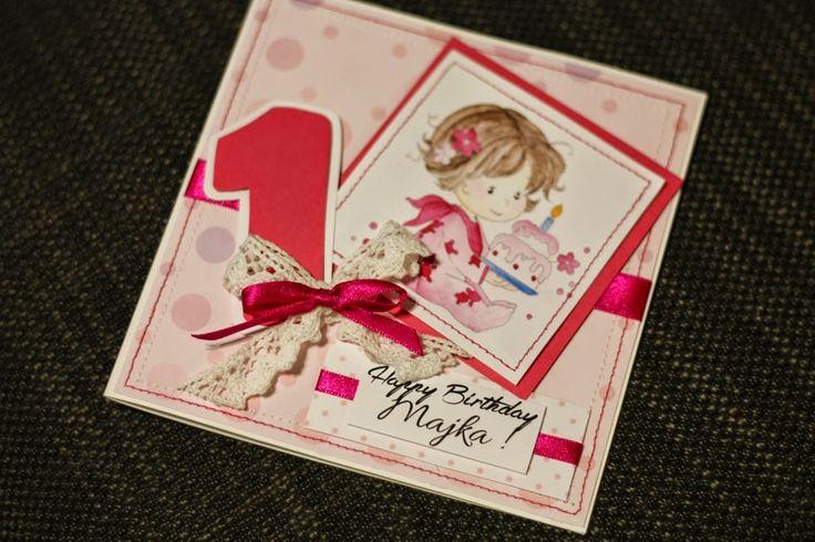 Misz Masz Myszy i Rysia: Roczek Majszonka; Birthday scrapbooking card