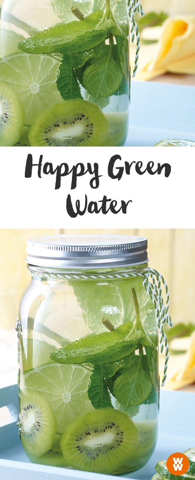 Happy Green Water, Wasser mit Geschmack, Wasser mit Früchten   Weight Watchers