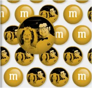 this is a cute idea to have a bowl of m's on the table at your reception for guests to munch on
